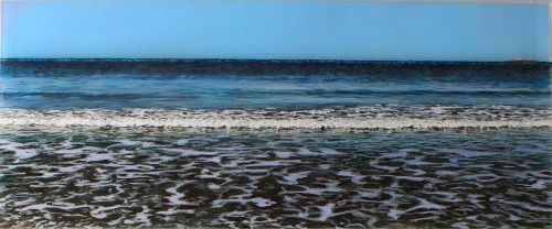 "Before the Erosion, 10x24"" acrylic on multiple acrylic panels, ©Jess Hurley Scott, painting, art, contemporary landscape, dioramic panels"