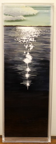 "Coastline, Marion, 4.5x 13"" acrylic on multiple acrylic panels © Jess Hurley Scott"