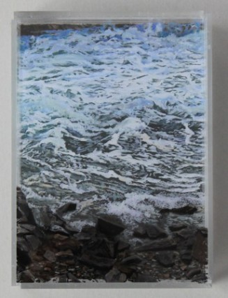 "Heading Out, 5x7"" ,acrylic on mulitple acrylic panels. ©Jess Hurley Scott, layered landscapes, painting, seascape, art,"