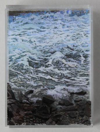 "Heading Out, 5x7"" ,acrylic on mulitple acrylic panels. ©Jess Hurley Scott, layered landscapes, painting, seascape, art,"