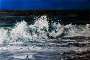 """Morning Break"", 20""x30""x2"", acrylic on multiple layers of acrylic, 2015 © Jess Hurley Scott, contemporary painting, seascape, fine art"