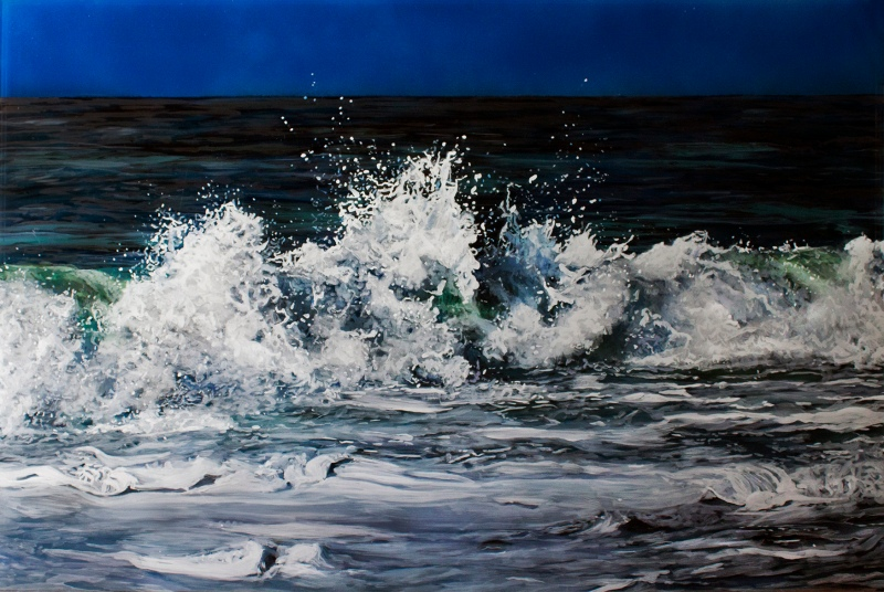 """Morning Break"", 20""x30""x2"", acrylic on multiple layers of acrylic, 2015 © Jess Hurley Scott, contemporary painting, seascape, fine art"