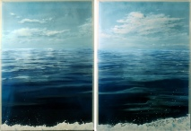 "Off Tuckernuck Bank, #1, #2 (diptych) 17x24"" each, acrylic on multilayered acrylic panels © Jess Hurley Scott, nantucket, art, painting, contemporary art"