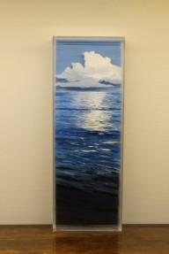 """Slack Tide, Bahamas"" 5x7"" acrylic on multiple acrylic panels © Jess Hurley Scott, contemporary landscape, ocean, sea, art, painting"