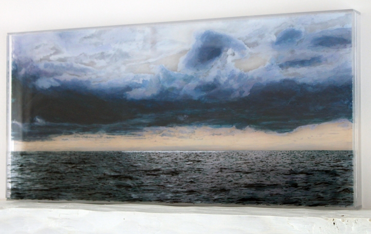 "'Nantucket Sound, #2', 14x30"", acrylic on multiple acrylic panels, ©Jess Hurley Scott, layered landscape, art, landscape painting,"