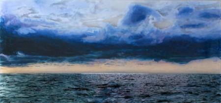 "'Nantucket Sound, #2', 14x30"", acrylic on multiple acrylic panels, ©Jess Hurley Scott, layered landscape, art, landscape painting,"