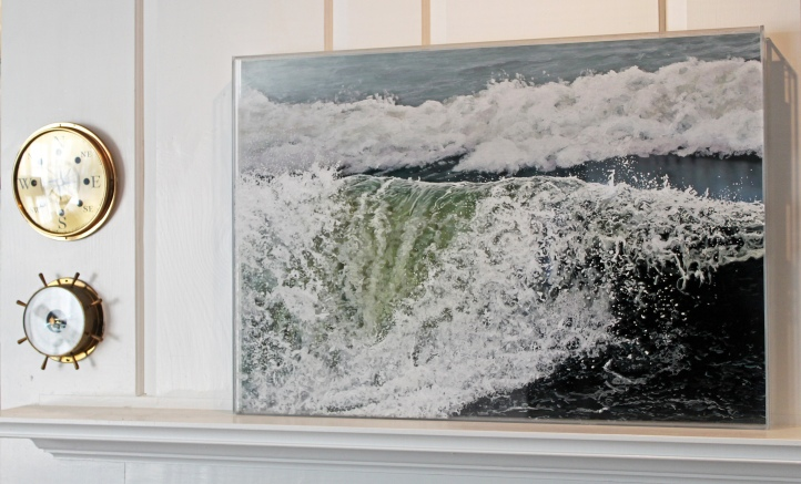 """The Wave Falters"", 21""h x 31""w, acrylic on multiple acrylic panels, © Jess Hurley Scott"