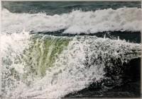 """The Wave Falters"", 21""h x 31""w, acrylic on multiple acrylic panels, © Jess Hurley Scott"