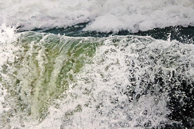 """The Wave Falters"", 21""h x 31""w, acrylic on multiple acrylic panels, © Jess Hurley Scott, art, painting, painter, waves, landscape art"