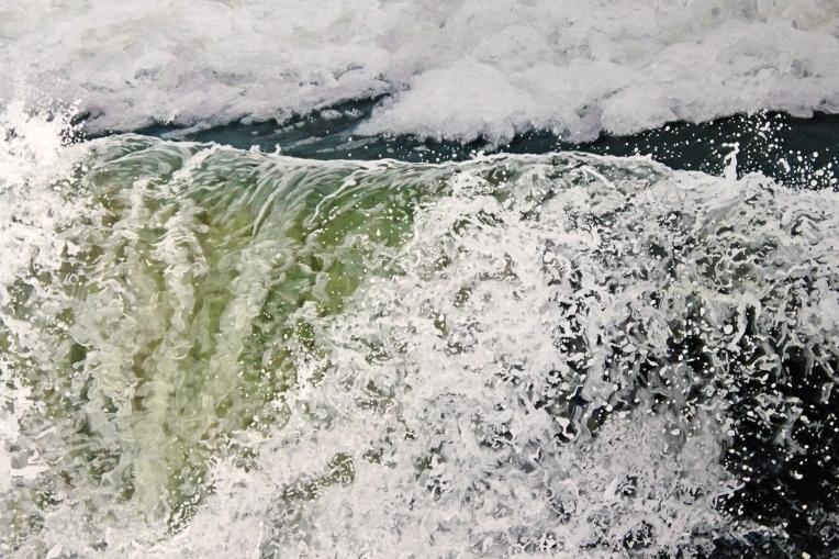 """The Wave Falters"", 21""h x 31""w, acrylic on multiple acrylic panels, © Jess Hurley Scott, art, painting, painter, waves, landscape art"