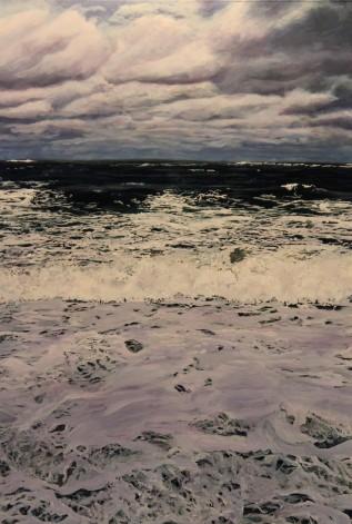 """Rip Tide"" © Jess Hurley Scott acrylic on multiple acrylic panels, layered landscapes, layered glass painting, painter"