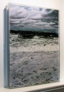 """Rip Tide"" side view, © Jess Hurley Scott, 18 x 24"" , seascape, mixed media painting, contemporary landscape painter"