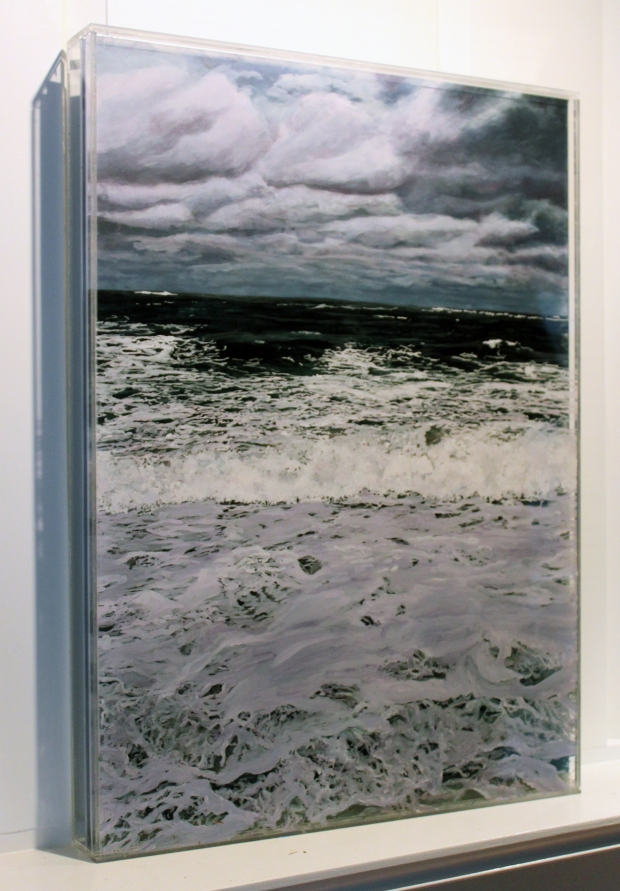 """""""Rip Tide"""" side view, © Jess Hurley Scott, 18 x 24"""" ,  seascape, mixed media painting, contemporary landscape painter"""