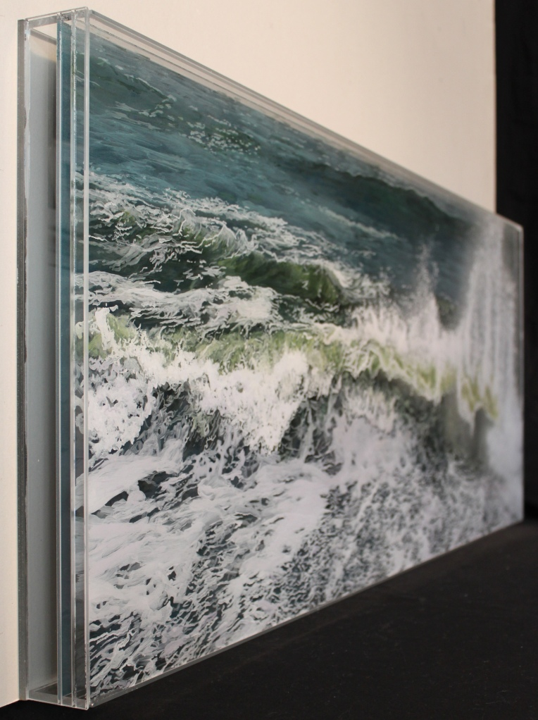"""""""Sunder and Spray"""", 18""""h x 44""""w, acrylic paint on multiple acrylic panels, ©  Jess Hurley Scott, art, painting, wave painting, artist, contemporary landscape, seascape, ocean"""