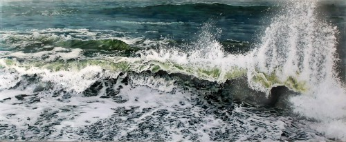 """Sunder and Spray"", 18""h x 44""w, acrylic paint on multiple acrylic panels, © Jess Hurley Scott, art, painting, wave painting, artist, contemporary landscape, seascape, ocean"