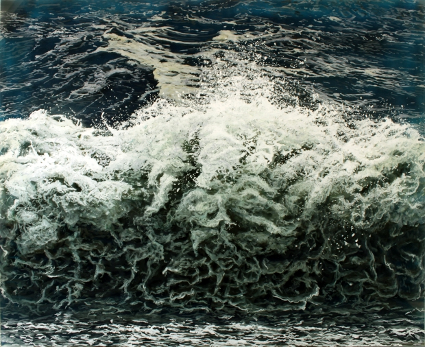 """Breakwall"", 32x40"", acrylic on multilayered acrylic panels. © Jess Hurley Scott, art, painting, ocean, waves, landscape, contemporary art"