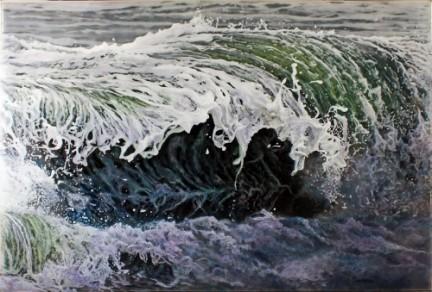 """Caught Inside"", 29x44"" acrylic on multilayered acrylic panels. © Jess Hurley Scott, art, painting, ocean, waves, landscape, contemporary art"