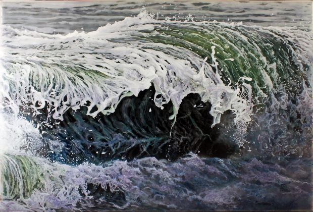 """Caught Inside"", 29x44"" acrylic on multilayered acrylic panels. © Jess Hurley Scott, art, painting, ocean, waves, landscape, contemporary art"