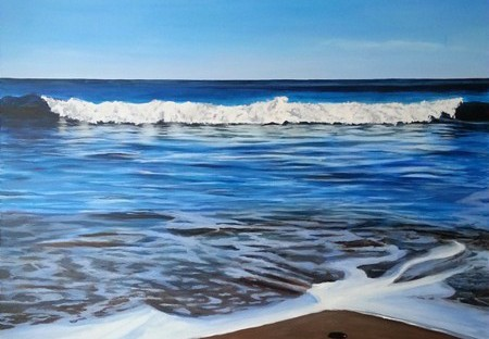 """Minot Tide"", 36 x 48"", acrylic on canvas. © Jess Hurley Scott, scituate, painting, seascape, contemporary art"