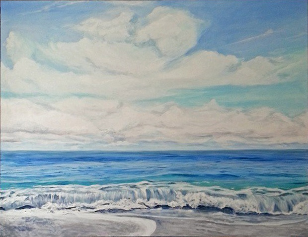 """Nantucket Sound, #3"", 36 x 48"", acrylic on canvas. © Jess Hurley Scott, painting, ocean, contemporary art, seascape"