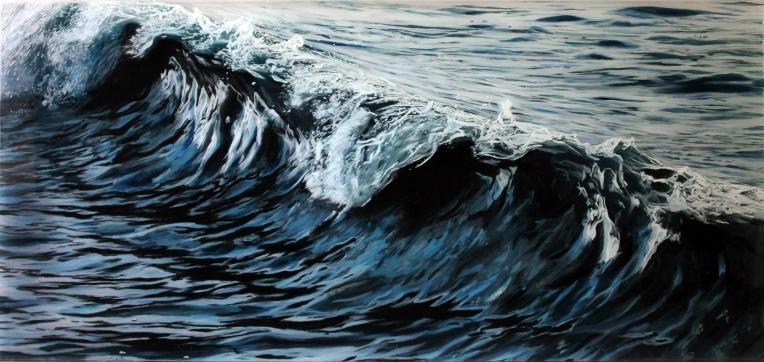 """Mercury, #1"", 14"" x 30"" acrylic on multilayered acrylic panels, © Jess Hurley Scott"