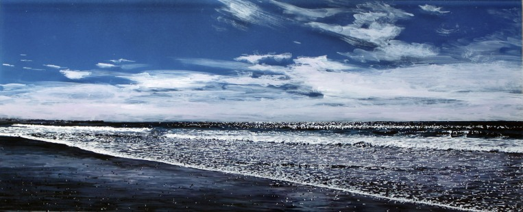"""Clarity"", 10""x 24"" x 2"", acrylic on multiple acrylic panels, 2015 ©JessHurleyScott, seascape, painting, art, contemporary art, artist, ocean"
