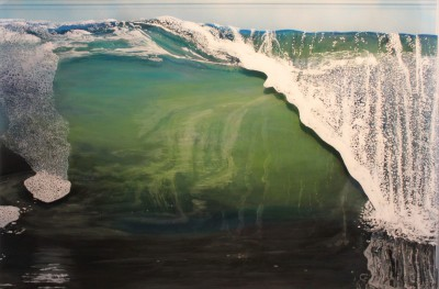 """Barrel"", 2016, acrylic on multilayered acrylic panel, 29"" x 44"" x 2"" ©Jess Hurley Scott, painting, waves, contemporary art, artist"