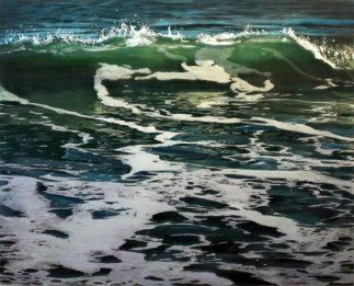 Jess Hurley Scott, Back Lit 1, 2017, acrylic on multiple layers of acrylic panel, seascape, ocean, contemporary painting, dioramic painting, marine art, artist, boston artist