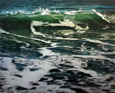 Jess Hurley Scott, Back Lit 1, 2017, acrylic on multiple layers of acrylic panel, seascape, ocean, contemporary painting, dioramic painting, marine art, artist, boston artist
