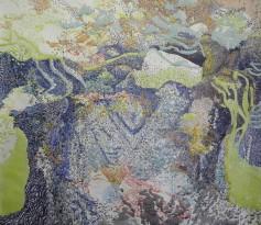 Michel Lauriat, York Beach, 2017, mixed media on paper, artist, female artist, works on paper, contemporary art, marine art, ocean, beach