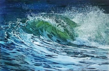 "SOLD ""Crash"", 20""x 30"" x 2″, acrylic paint on multiple acrylic panels, © Jess Hurley Scott"