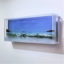 "SOLD ""Sand Beach, #3"", 5"" x 13"" x 2″, acrylic paint on multiple acrylic panels, © Jess Hurley Scott"